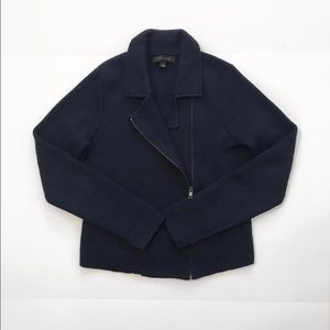 Ann Taylor blazer jacket cardigan navy knitted S